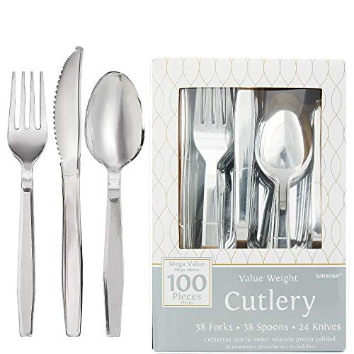 (Amscan 439503.99 Boxed disposable-cutlery-sets, One Size, Silver)
