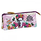 Frida Kahlo - Triple Pencils Case - Pencils Holder - Three Zippers - 8.7''x1.18''x3.94'' - Great Quality - White & Rose
