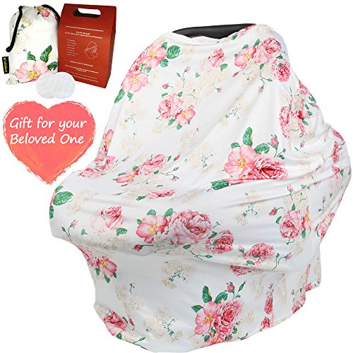 Nursing Breastfeeding Stroller Cover for Infant and New Mother - Floral Pattern Soft and Sketchy Car Seat Canopy, Shopping Cart, Scarf and Shawl - Multi-use for Baby Girls