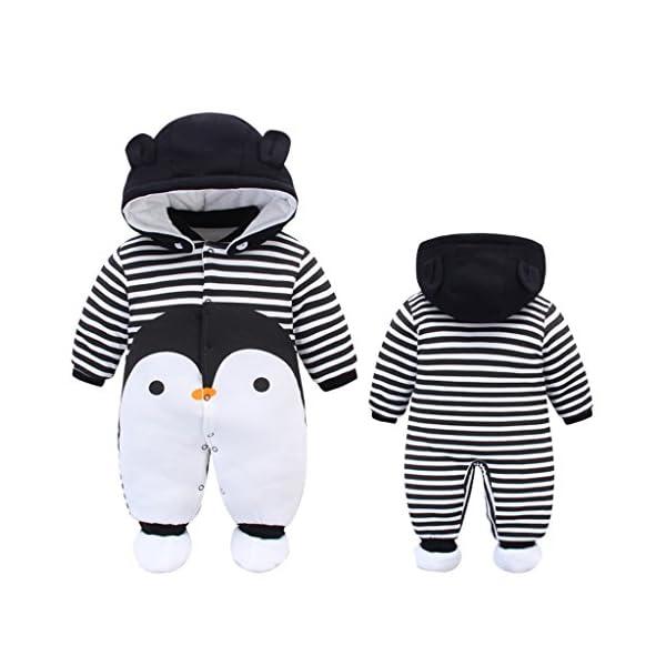 Bambino Pagliaccetto con Cappuccio Scarpe Tute da neve Cartone Animato Jumpsuit Inverno Caldo Tutine Set, Pinguino 0-3… 2