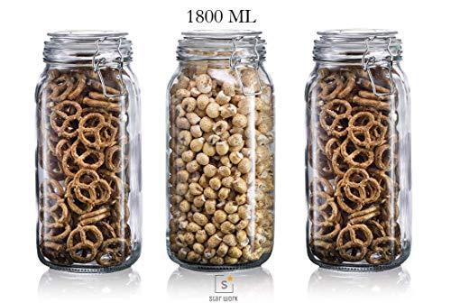STAR WORK 1.2 Liter Kitchen Pickle Cereal Storage Kitchen Glass Jars – Pack of 3 Price & Reviews