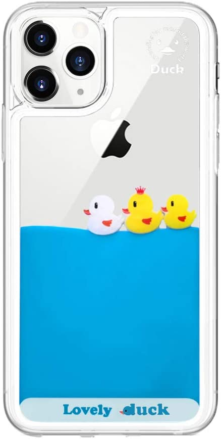 Fusicase for iPhone 11 Pro Max Liquid Case Cute Funny Cartoon Duck Flowing Floating Moving Water Clear Protective Cover with Transparent Hard PC Slim Ultra Thin Quicksands Case for iPhone 11 Pro Max