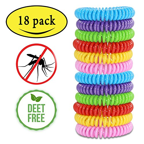 Mosquito Repellent Bracelets,Natural for Kids & Adults(18 Pack)Waterproof Elastic Coil Pest Control Bug Repellent Wristbands up to 300 Hrs Protection,Deet-free and Bugs Free by Happon