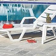 """Cadeira Plástica Espreguiçadeira Tramontina, Leblon, Branco - 9225"