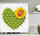 Cactus Decor Shower Curtain by Ambesonne, Thorny Cactus in the Shape of Heart and Yellow Flower Opuntia Spikes, Fabric Bathroom Decor Set with Hooks, 70 Inches, Green Yellow Orange