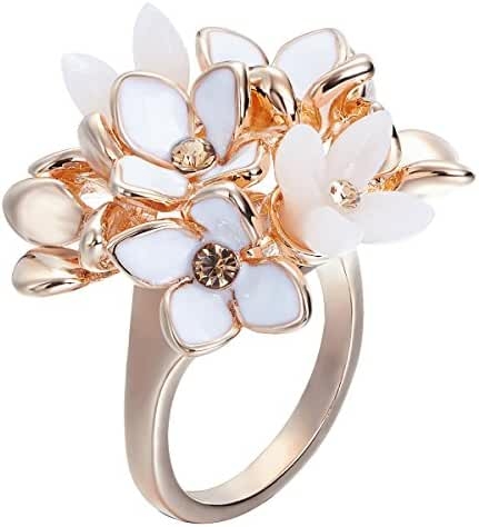 FAPPAC 18k Rose Gold Plated Crystal Cluster Flower Statement Ring Enriched with Swarovski Crystals