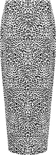 WearAll Women's Animal Leopard Spot Print Long Stretch Maxi Skirt - Animal - US 14 (UK 18) (Leopard Stretch Skirt)