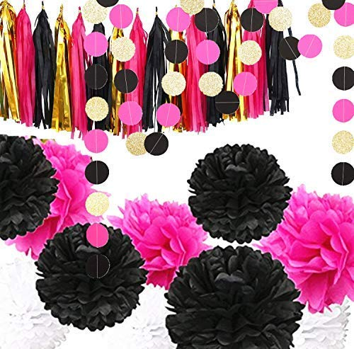 Fonder Mols Bachelorette Party Decorations Black and Hot Pink - 15 Tassels, 9pcs Tissue Paper Pom Poms, 4 Circle Garlands for Bridal Shower Wedding Party Decorations -
