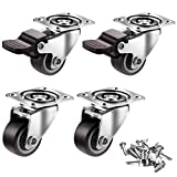 2 inch Casters Set of 4 with Brake, Mute and