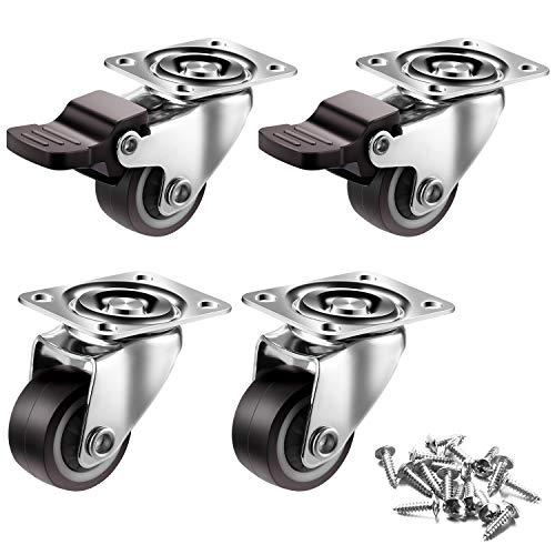 1 inch Casters Set of 4 with Brake, Mute and Floor Protection, TPR Noise-Free Rubber Swivel Caster Wheels for Furniture Table Trolley with Free Screws, Load Capacity-100lbs