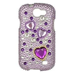 Purple Heart Diamond Crystal Bling Protector Case for Samsung Galaxy Express i437