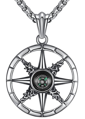 Aoiy Men's Stainless Steel Large Star Compass Biker Pendant Necklace, 24