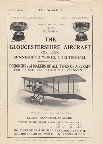 Gloucestershire Aircraft MARS VI Single-seat Fighter with Jupiter Engine ad 1924