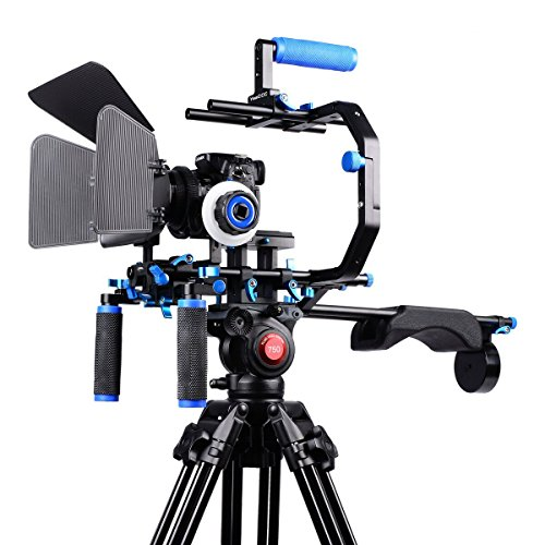 YaeCCC Film Movie System Kit Video Making System for Canon/Nikon/Sony and other DSLR Cameras, includes:(1)C-shaped Bracket+(1)Handle Grip+(2)15mm Rod+(1)Matte Box+(1)Follow Focus+(1)Shoulder Rig by YaeCCC