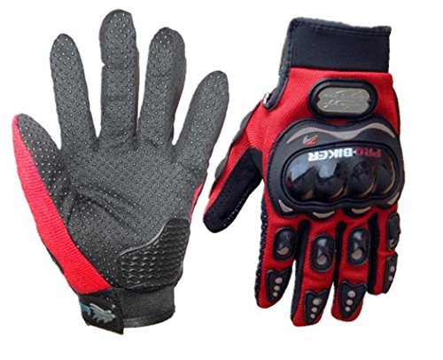 Wonzone Motorbike Protective Carbon Fiber Powersports Off-Road Racing Cycling Motorcycle Full Finger Motocross Motor Gloves (Red, X-Large) by Wonzone2161 (Image #1)