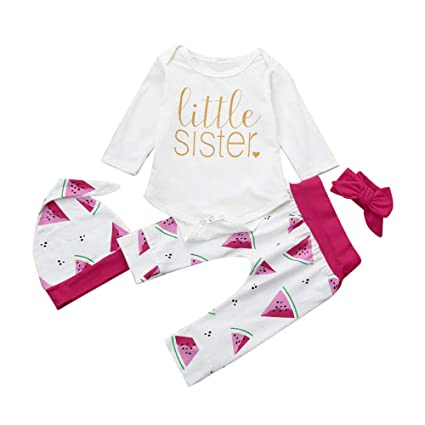 2bf1b86f2 Image Unavailable. Image not available for. Color: Infant Baby Outfits Set  HP95 4PCS Newborn Baby Girls | Little Sister Printed | Romper Jumpsuit