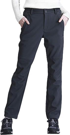 CAMEL CROWN Mujer Pantalones de Softshell Impermeables con Forro Polar, A Prueba de Viento Pantalón de Senderismo, Pantalones para Esquí Snowboard ...