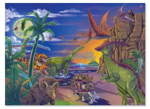 Melissa & Doug 60 Piece Land of Dinosaurs Jigsaw Puzzle image
