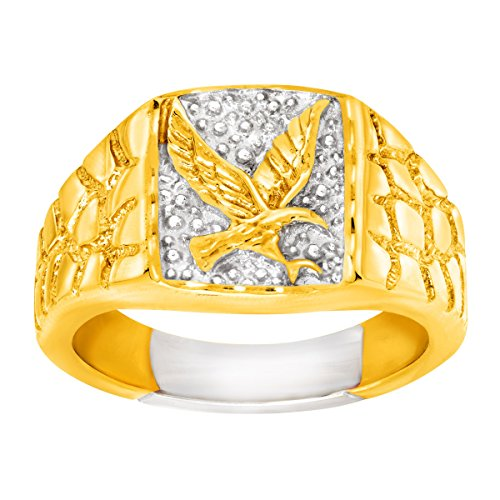 - Men's Eagle Signet Ring in 14K Gold-Plated Sterling Silver