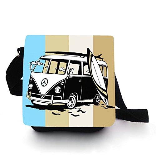 Tasche Kindertasche Handtasche mit Surfbus blau kt83