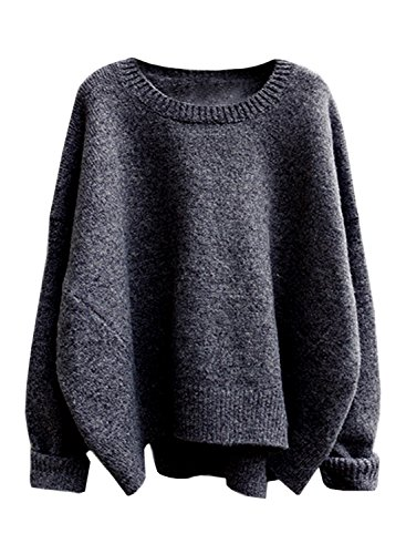 futurino Women's Crew Neck Solid Long Drop Sleeves Loose Knit Pullover Sweaters Black