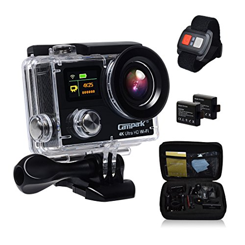 Campark® Sports Action Camera-dual Screen, 4k 25fps, 1080p 60fps,wifi,waterproof RF Remote Control,2pcs Batteries,Bag with Shockproof case included