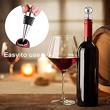 XYDZ Tapón de Vino, 4 PCS Tapón de Acero Inoxidable para Botellas, Tapón de Botella para Vino Colección Vino Tinto Champán Cerveza Ahorrador Sellador