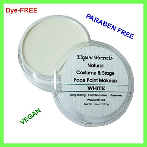 Lrg 1 oz. White Natural & Organic Face Paint Jar DYE-free, Paraben-free Halloween Costume (Halloween Costumes Face Paint Only)