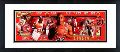 Chicago Bulls Michael Jordan Career Collage Framed Panoramic 12x36