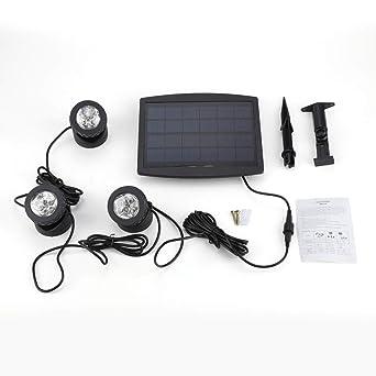 LED Proyector solar para piscina, 6LED/12LED/18LED lámpara solar ...