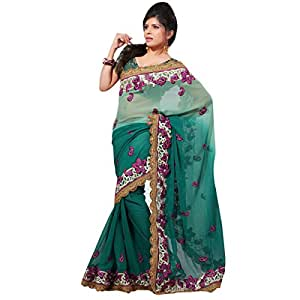 Shilp-Kala Chiffon Embroidered Green Colored Sarees SKXGO839