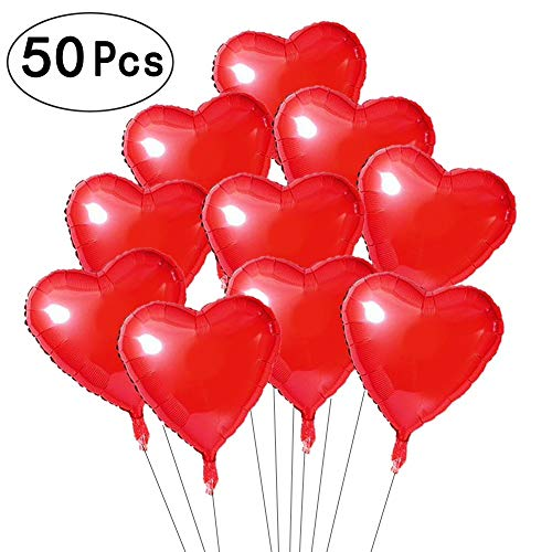 18 inch Red Love Heart Foil Mylar Balloons Valentines Day Wedding Favors Sweetheart Helium Balloons Baby Shower Decorations, 50 PC ()