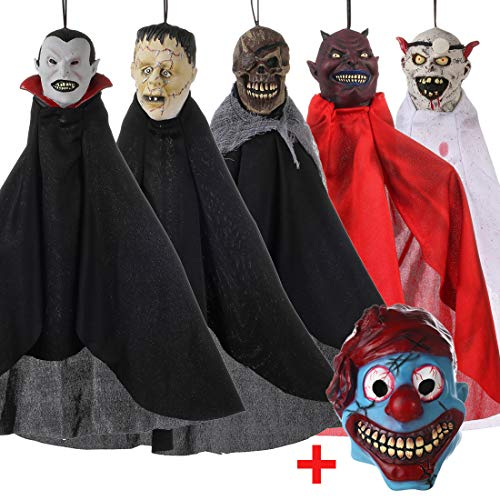 (5PCS Scary Hanging Decoration for Haunted House and 1 Piece Funny Halloween Clown Mask for)