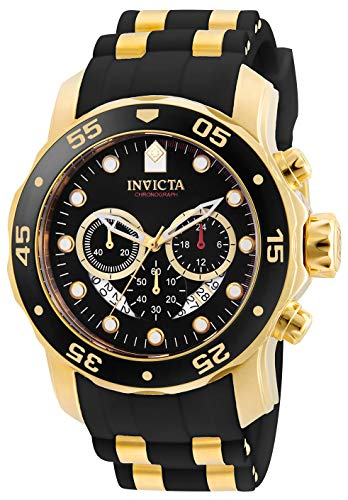 Gold Chronograph Swiss - Invicta Men's 6981 Pro Diver Analog Swiss Chronograph Black Polyurethane Watch