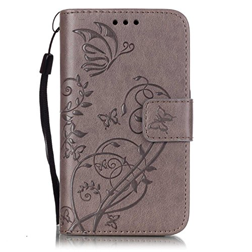 IKASEFU Strap/Rope PU Leather Flower Butterfly Design Retro Elegant Wallet Flip Protective Case Cover with Stand for Samsung Galaxy S2/i9100-Butterfly,Grey
