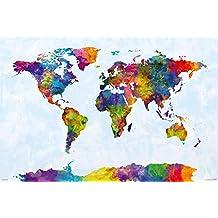 "Watercolor World Map Poster - Michael Tompsett (36""x24"")"