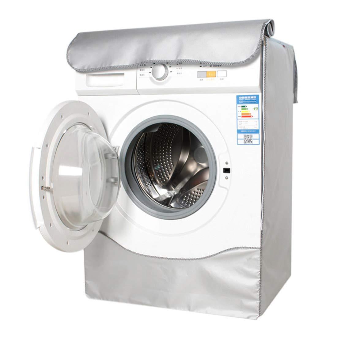 Enerhu Washing Machine Cover 2-way Zipper Sunscreen Waterproof Smoke-proof Protective No Elasticity Umbrella Cloth Front Load Washer Dust Cover