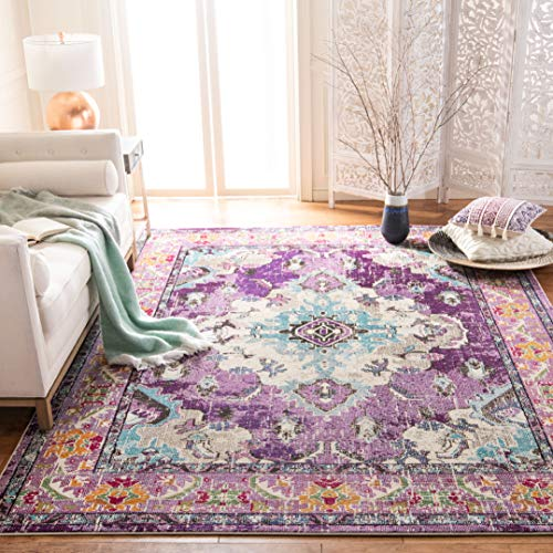 Safavieh Monaco Collection MNC243L Vintage Bohemian Violet and Light Blue Distressed Area Rug (8' x 10')