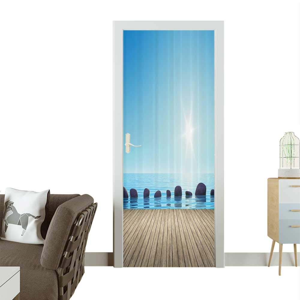 color10 W17.1 x H78.7 INCH Homesonne Waterproof Decoration Door DecalsWooden Kayak Boat Sandy ACH When Sun Goes Down Dramatic Nature Coast Perfect ornamentW32 x H80 INCH