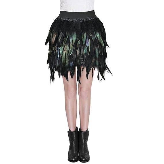 Sunbeter Mini Falda Mujer Pluma Negra con Cintura elástica Falda ...