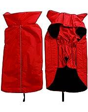 JoyDaog Fleece Lined Warm Dog Jacket for Winter Outdoor Waterproof Reflective Dog Coat Red L