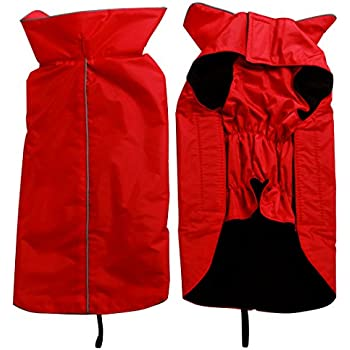 JoyDaog Fleece Lined Warm Dog Jacket for Winter Outdoor Waterproof Reflective Dog Coat Red L