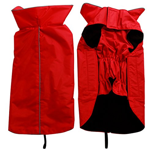 JoyDaog Fleece Lined Warm Dog Jacket for Winter Outdoor Waterproof Reflective Dog Coat Red M