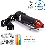 mofa Embossing Heat Gun,Hot Air Gun Tools Shrink Gun with Stand For DIY Embossing And Drying Paint Multi-Purpose Electric Heating Nozzle 130W With Heat Shrink Film,Colorful Pencil For Free(Black,Red)