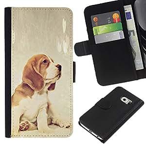 eJoy---La carpeta del tirón la caja de cuero de alta calidad de la PU Caso protector - Samsung Galaxy S6 EDGE - --Beagle Foxhound Puppy Baby Dog