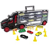 tomica truck - Boley Truck Carrier Toy - 2 FT Big Rig Hauler Truck Transport with 14 Die Cast Cars and 28 Slots for car Toys, Great Toy for Boys and Girls!