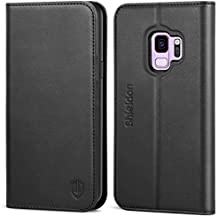 """Galaxy S9 Case, SHIELDON Genuine Leather Premium Galaxy S9 Wallet Case [Folio Cover] [Stand Feature] with Credit Card Slots Full Protection Case for Samsung Galaxy S9 5.8"""" (2018 Release) - Black"""