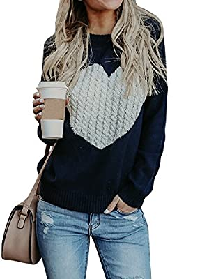 Farktop Womens Sweaters Pullover Cute Front Heart Scoop Neck Black Grey Knit Jumper Top For Juniors