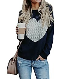 Womens Sweaters Pullover Cute Front Heart Scoop Neck Black Grey Knit Jumper Top for Juniors