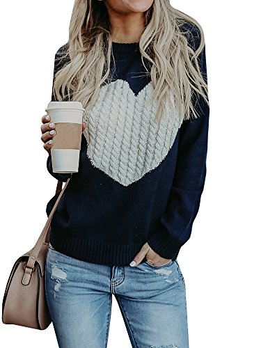 ters Casual Long Sleeve Cable Knit Cute Crew Neck Chunky Heart Pullover ()